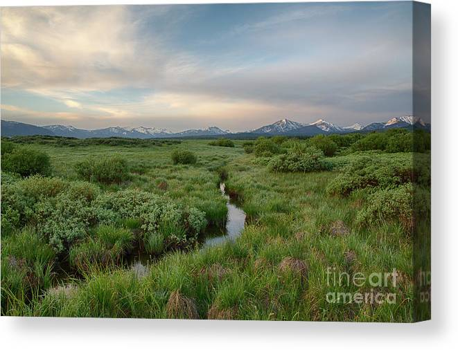 Boulder Mountains Canvas Print featuring the photograph Sawtooth Valley II by Idaho Scenic Images Linda Lantzy