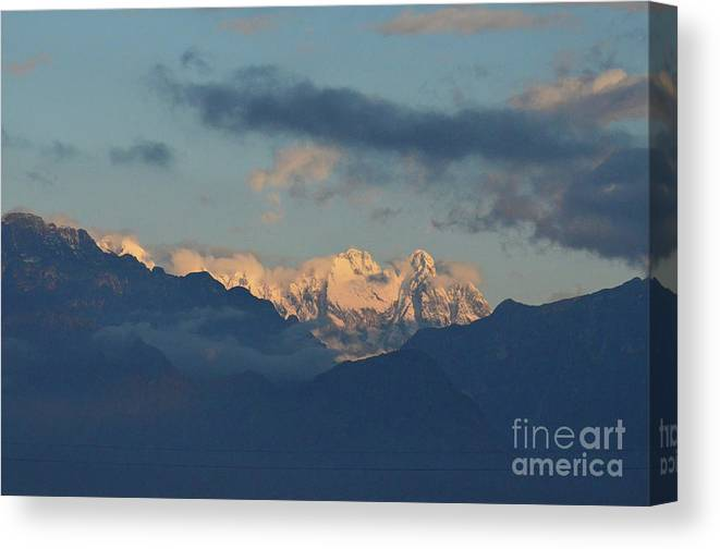Mountains Canvas Print featuring the photograph Scenic View Of The Dolomite Mountains With Snow by DejaVu Designs
