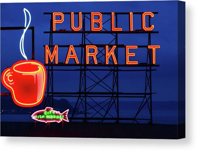 Neon Canvas Print featuring the photograph Seattle Glow by Todd Klassy