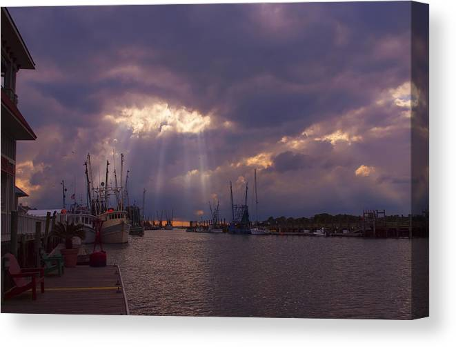 Evening Canvas Print featuring the photograph Shem Creek Sunset by Linda Morland