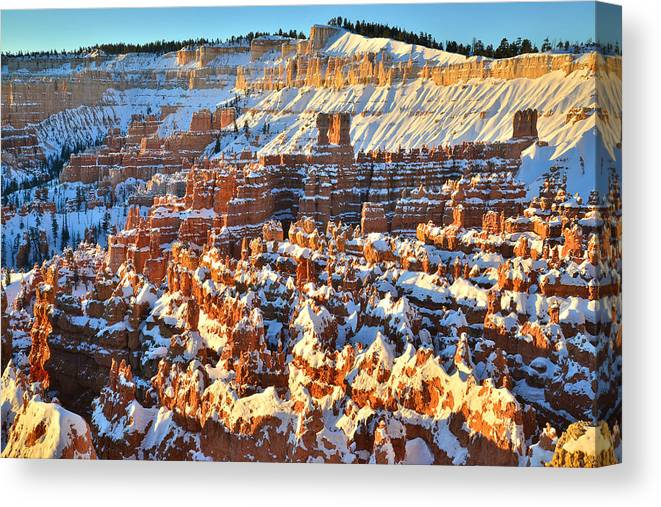Bryce Canyon National Park Canvas Print featuring the photograph Silent City Snowy Sunrise by Ray Mathis