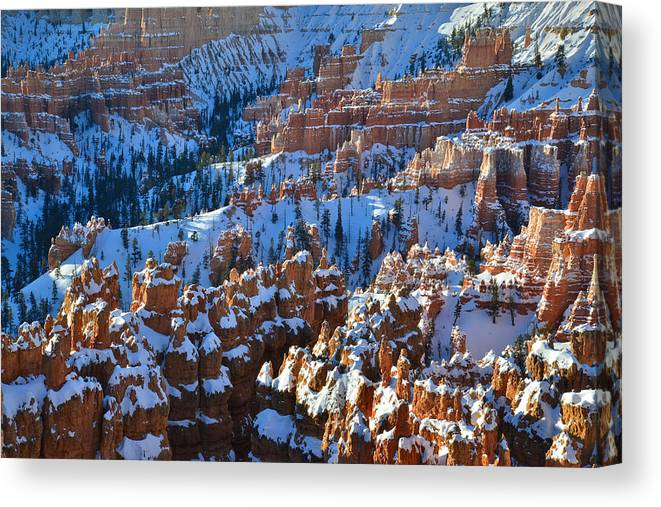 Bryce Canyon National Park Canvas Print featuring the photograph Silent City Winter by Ray Mathis