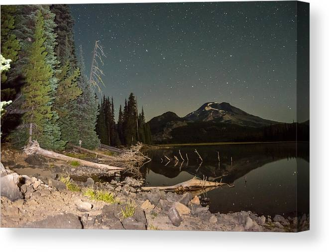 Landscape Canvas Print featuring the photograph Sister In The Moonlight by Dustin Brown