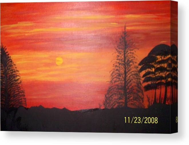 Landscape Canvas Print featuring the painting Sky On Fire by Paula Ferguson