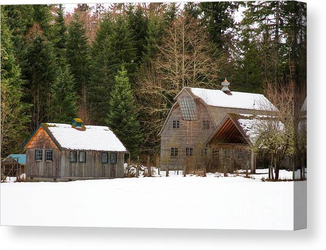 Barn Canvas Print featuring the photograph Snow Covered Barn by Rick Mann