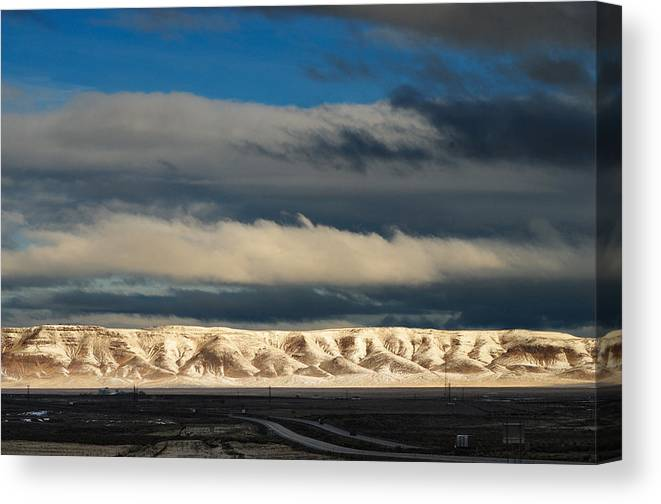 Landscape Canvas Print featuring the photograph Snowcaped Peaks by Werner Rolli