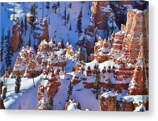 Bryce Canyon National Park Canvas Print featuring the photograph Snowy Fairy Castle by Ray Mathis