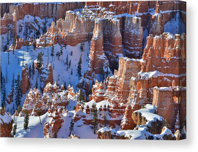 Bryce Canyon National Park Canvas Print featuring the photograph Snowy Turrets by Ray Mathis