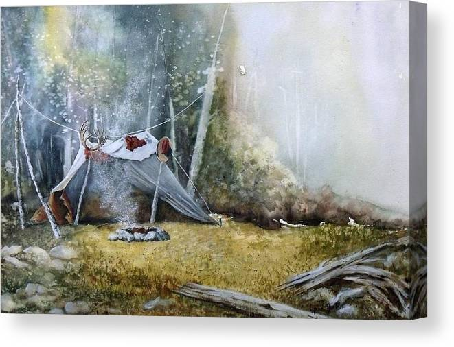 Tent Canvas Print featuring the painting Spike Camp by Lynne Parker