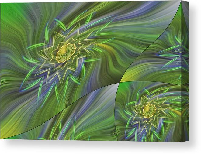 Abstract Canvas Print featuring the photograph Spinning Star Tiles by Linda Phelps