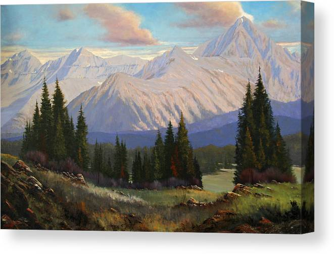 Landscape Canvas Print featuring the painting Spring On The Dallas Divide 070809-3624 by Kenneth Shanika
