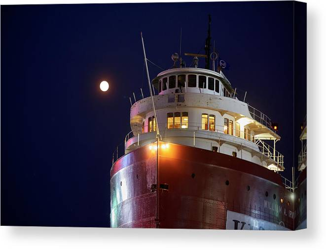 Ss William A Irvin Canvas Print featuring the photograph Ss William A Irvin At Night by Paul Freidlund