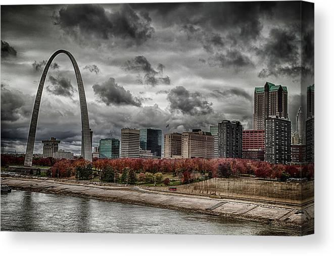 St Louis Canvas Print featuring the photograph St Louis Riverfront by Jon Dickson
