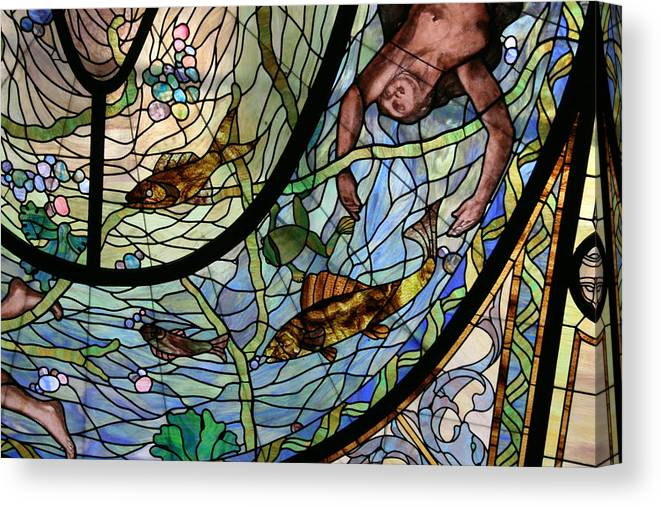Stain Glass Canvas Print featuring the photograph Stain Glass Set 1 - Bath House - Hot Springs, Ar by Lynn Michelle