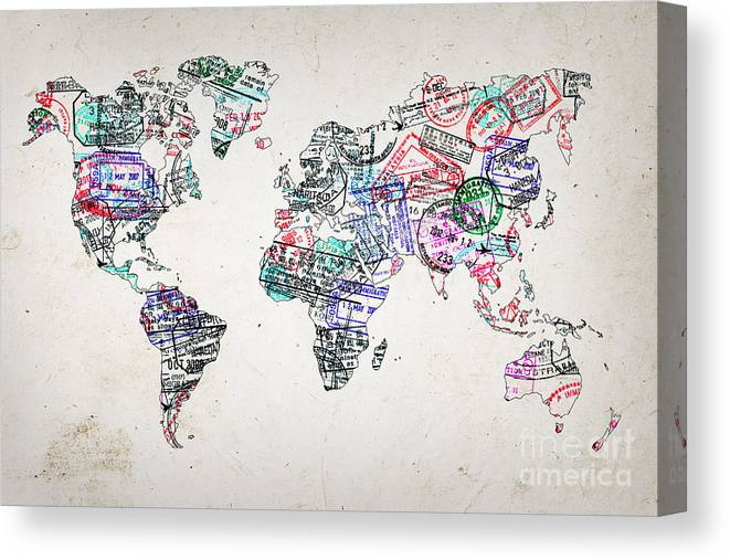 Stamp Art World Map Canvas Print / Canvas Art by Delphimages Photo on