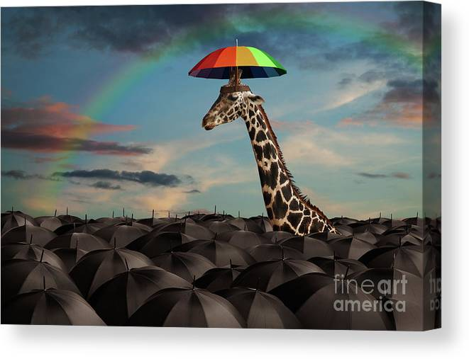 Giraffe Canvas Print featuring the photograph Stand Out From The Crowd by Martin Williams