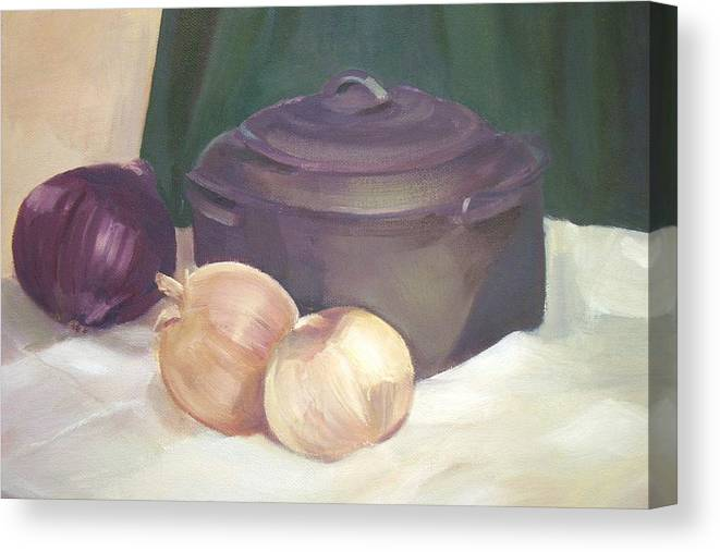 Still Life Canvas Print featuring the painting Starting Stew by Jan Cline-Zimmerman