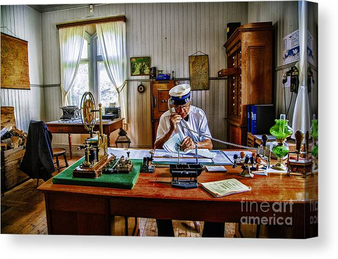 Sweden Station Masters Railways. Canvas Print featuring the photograph Station Master Mariefred by Rick Bragan