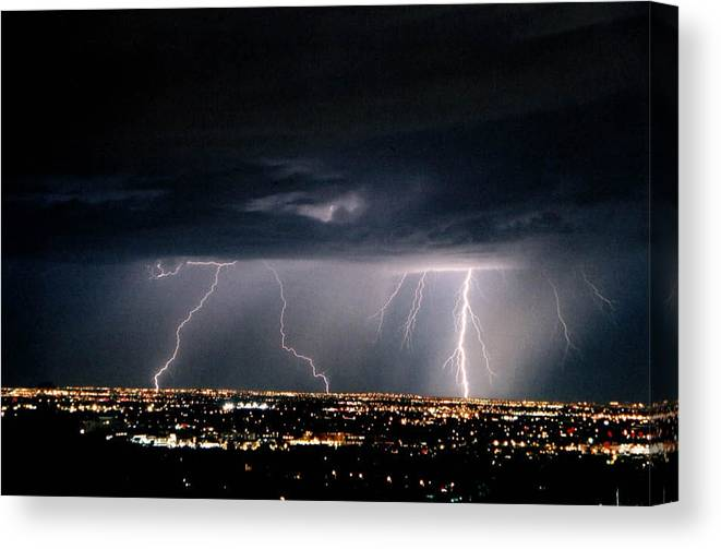 Lightning Canvas Print featuring the photograph Steppin' Out by Cathy Franklin