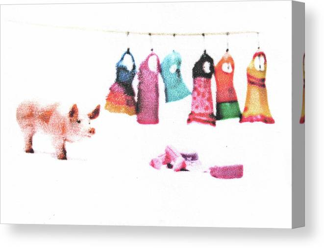 Pig Canvas Print featuring the mixed media Stereotype by Kimberly Lavon