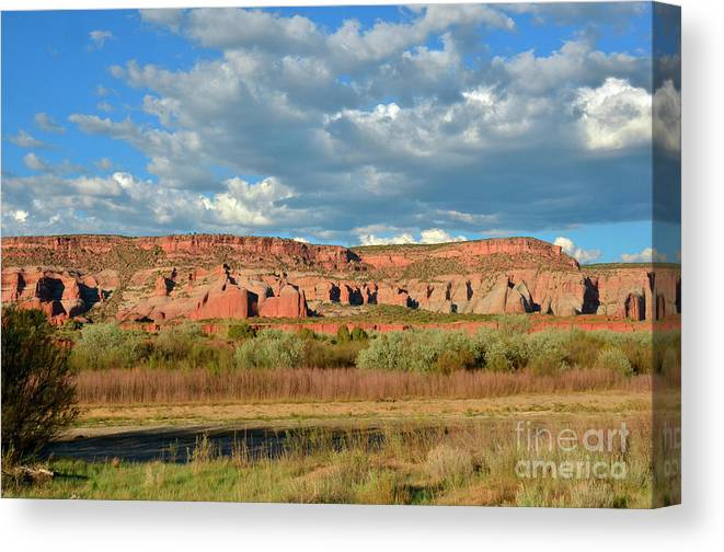 Rocks Canvas Print featuring the photograph Storm Over Red Rocks by Debby Pueschel