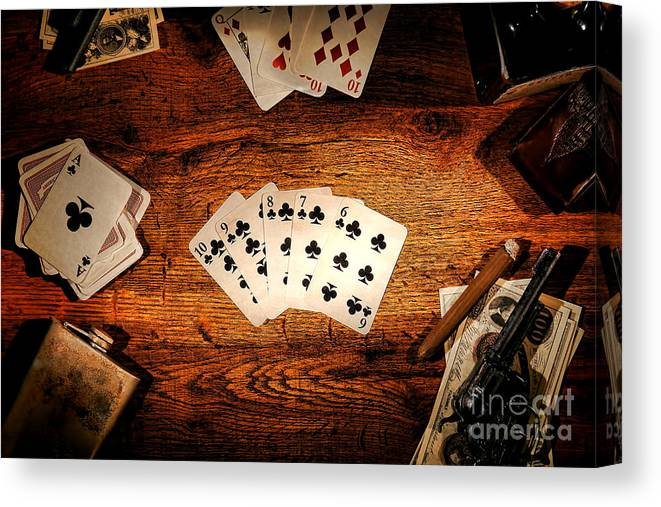 Western Canvas Print featuring the photograph Straight Flush by Olivier Le Queinec