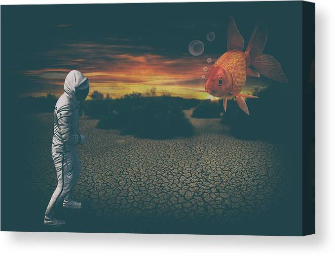 Astronaut Canvas Print featuring the digital art Strange Encounter by Katherine Smit