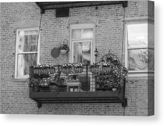 Summer Balcony on Brick Building In B/W Canvas Print