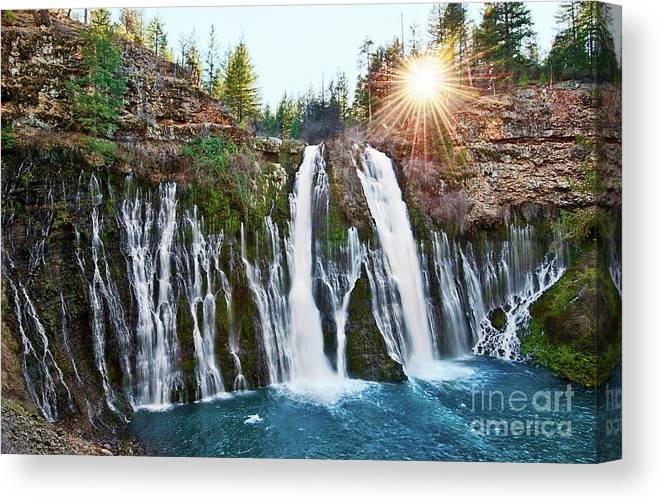 Burney Falls Canvas Print featuring the photograph Sunburst Falls - Burney Falls Is One Of The Most Beautiful Waterfalls In California by Jamie Pham