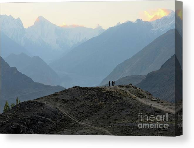 Mountains Canvas Print featuring the photograph Sunrise Among The Karakoram Mountains In Hunza Valley Pakistan by Imran Ahmed