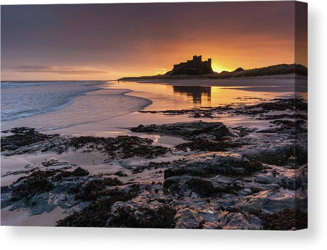 Sunrise Canvas Print featuring the photograph Sunrise At Bamburgh Castle #4, Northumberland, North East England by Anthony Lawlor