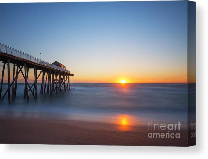 Fishing Pier Sunrise Canvas Print featuring the photograph Sunrise At Belmar New Jersey by Michael Ver Sprill