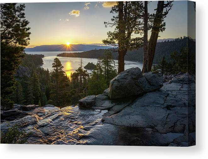 Lake Tahoe Canvas Print featuring the photograph Sunrise At Emerald Bay In Lake Tahoe by James Udall