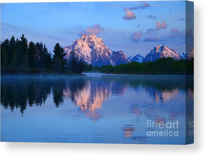 Oxbow Bend Canvas Print featuring the photograph Sunrise At The Oxbow by Deanna Cagle