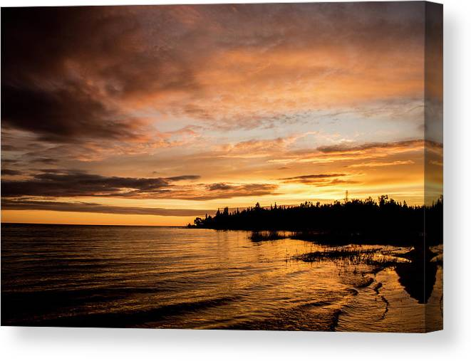 Lake Michigan Canvas Print featuring the photograph Sunset by Adam Murray