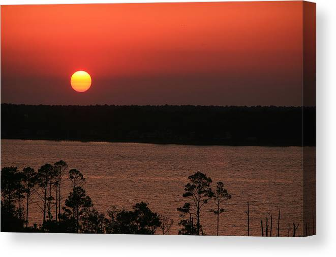 Sun Canvas Print featuring the photograph Sunset At Gulfshores by James Jones