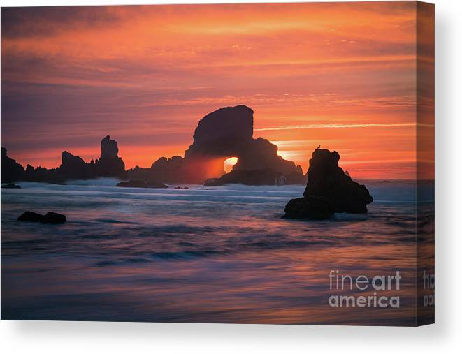 America Canvas Print featuring the photograph Sunset Behind Arch At Oregon Coast Usa by William Freebilly photography
