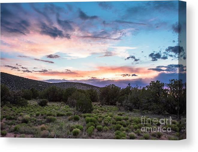Natanson Canvas Print featuring the photograph Sunset Cerillos by Steven Natanson