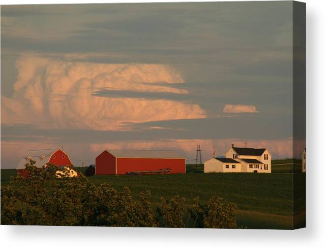 Farm Scene Canvas Print featuring the photograph Sunset Colors by Linda Ostby