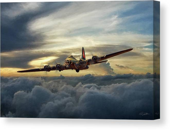 Aviation Canvas Print featuring the digital art Sunset Fortress by Peter Chilelli