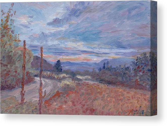Oil Canvas Print featuring the painting Sunset by Horacio Prada