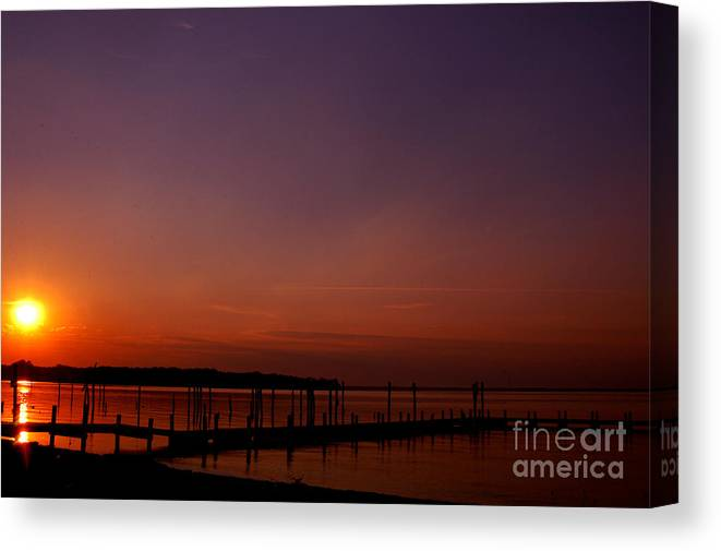 Clay Canvas Print featuring the photograph Sunset In Colonial Beach by Clayton Bruster