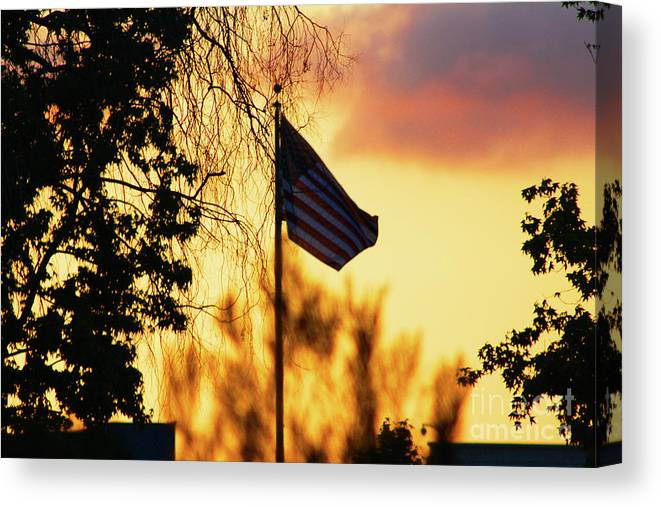 Flag Canvas Print featuring the photograph Sunset In San Diego by Tommy Anderson