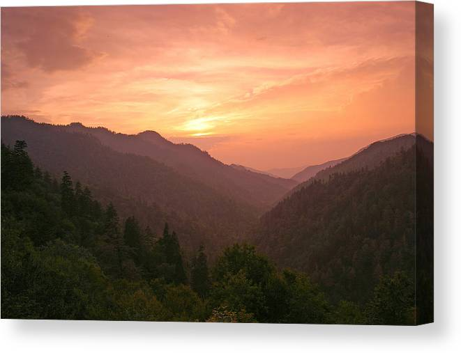 Landscape Canvas Print featuring the photograph Sunset In The Smokies. by Itai Minovitz