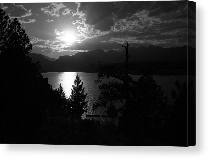 Canvas Print featuring the photograph Sunset On Lake Estes by Perspective Imagery