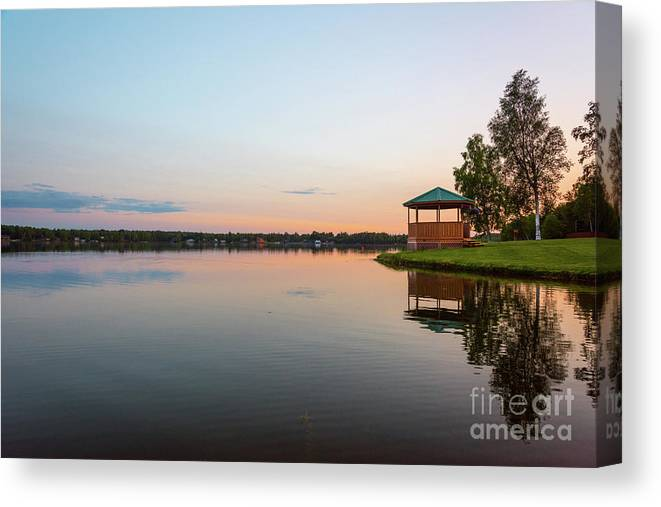 Wasilla Canvas Print featuring the photograph Sunset On Wasilla Lake by Paul Quinn