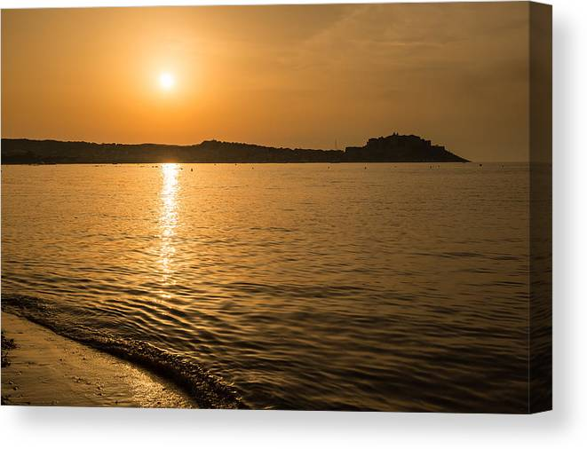 Balagne Canvas Print featuring the photograph Sunset Over Calvi In Balagne Region Of Corsica by Jon Ingall
