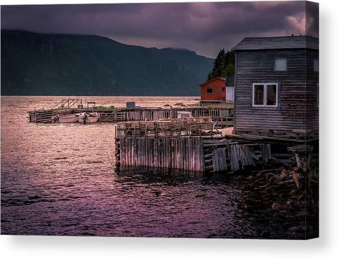 Sunset Over Outport Newfoundland Wharf Canvas Print
