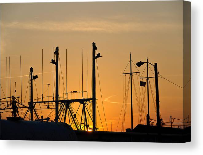Cape May Canvas Print featuring the photograph Sunset Over The Fleet by Louis Dallara