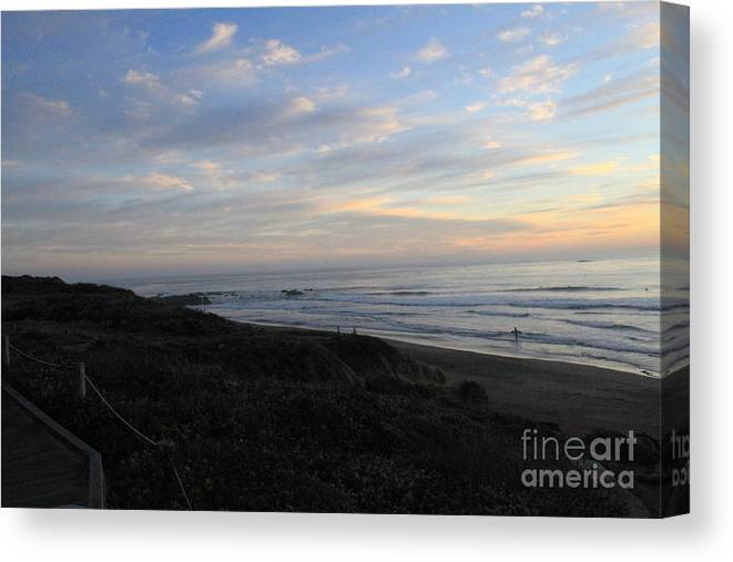 Surf Canvas Print featuring the photograph Sunset Surf by Linda Woods